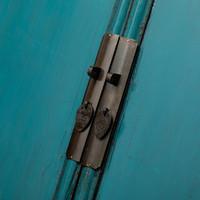 Antiker Chinesischer Schrank Glänzend Blau B105xT47xH189cm