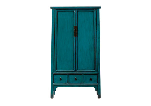 Fine Asianliving Antique Chinese Cabinet Glossy Teal W103xD47xH180cm