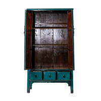 Antique Chinese Cabinet Glossy Teal W103xD47xH180cm