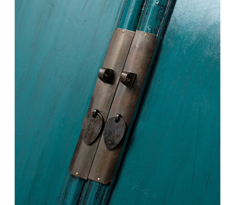 Antiker Chinesischer Schrank Glänzend Aquamarin B103xT47xH180cm