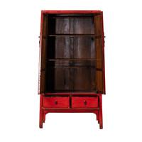 Antiker Chinesischer Schrank Glänzend Rot B98xT46xH183cm
