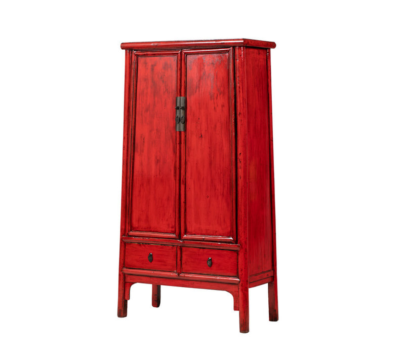 Antieke Chinese Kast Glanzend Rood B98xD46xH183cm