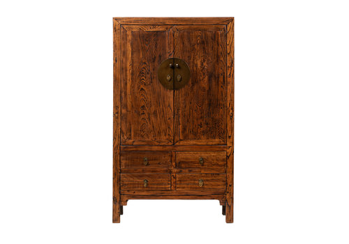 Fine Asianliving Antique Chinese Wedding Cabinet Brown W113xD48xH192cm