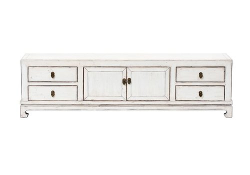 Fine Asianliving Chinese TV Stand Bench Glossy White W182xD42xH54cm
