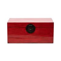 Baule Cassapanca Cinese Antico Rosso L93xP57xA43cm