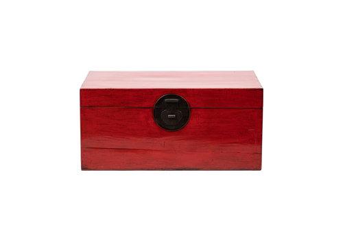 Fine Asianliving Antike Chinesische Truhe Glänzend Rot B93xT57xH43cm