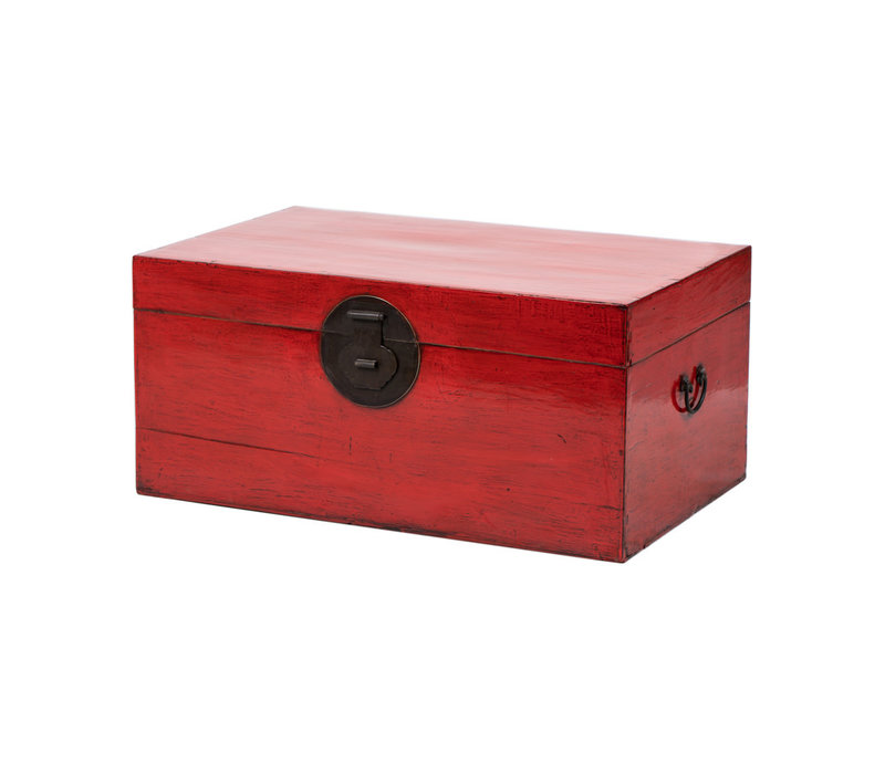 PREORDER 28/12/2020 Antique Chinese Chest Glossy Red W93xD57xH43cm