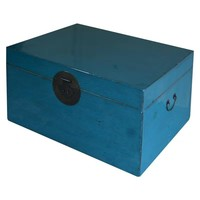 Baule Cassapanca Cinese Antico Blu L95xP58xA43cm