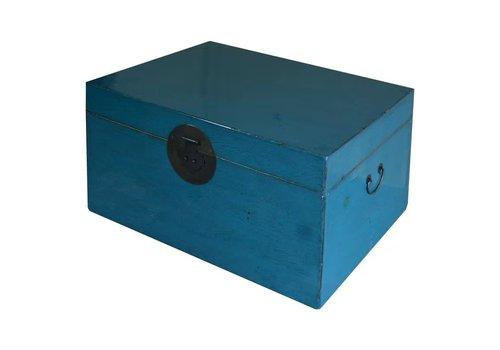Fine Asianliving Caja Cofre de Almacenamiento Chino Antiguo Azul Brillante A95xP58xA43cm
