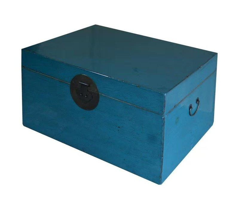 Antike Chinesische Truhe Glänzend Blau B95xT58xH43cm