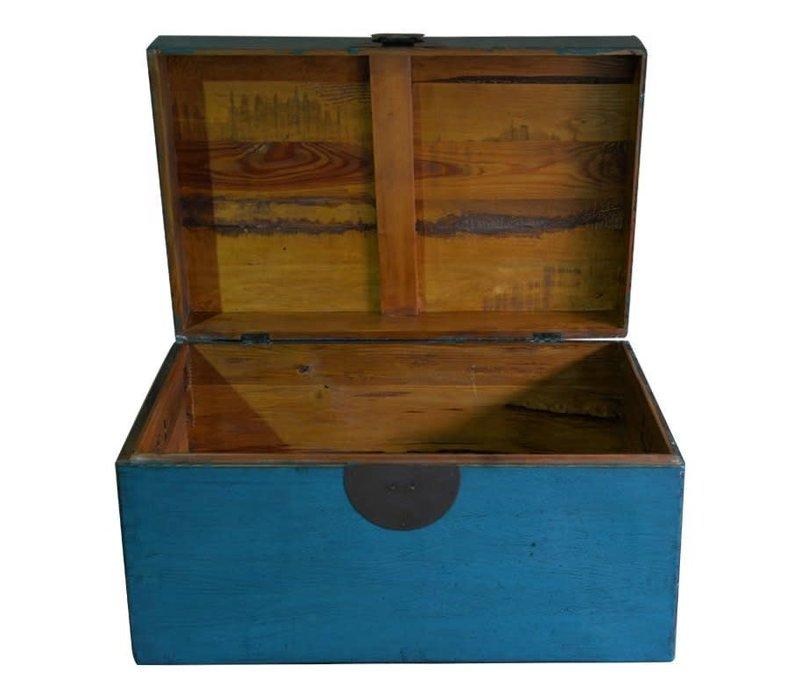 Antieke Chinese Kist Blauw B95xD58xH43cm