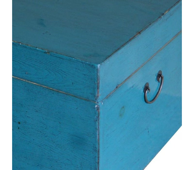 Antieke Chinese Kist Glanzend Blauw B95xD58xH43cm