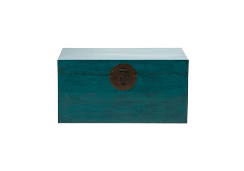 Fine Asianliving Antique Chinese Chest Glossy Teal W86xD54xH44cm