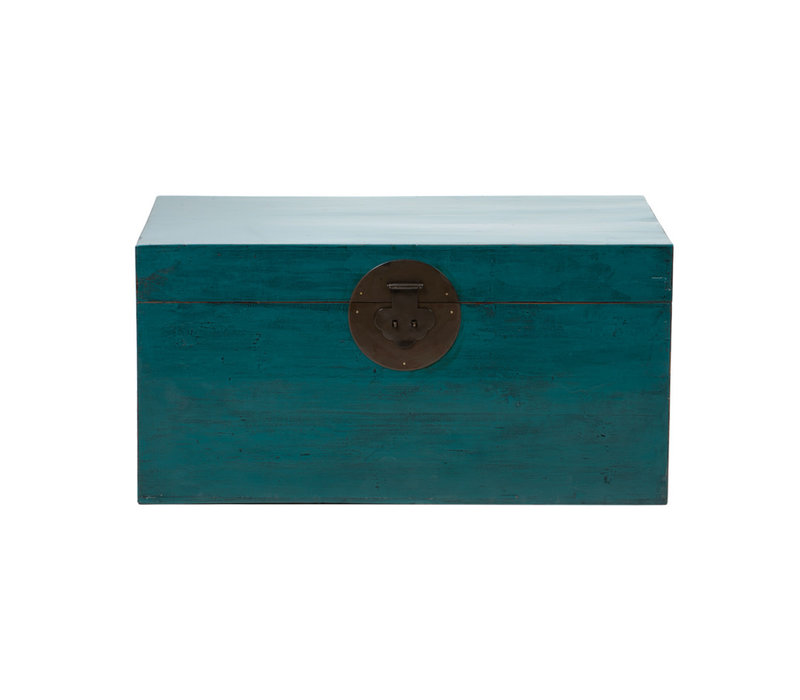 PREORDER 28/12/2020 Antique Chinese Chest Glossy Teal W86xD54xH44cm