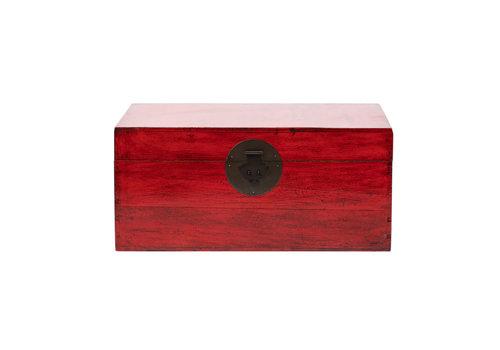 Fine Asianliving Antike Chinesische Truhe Glänzend Rot B89xT57xH40cm