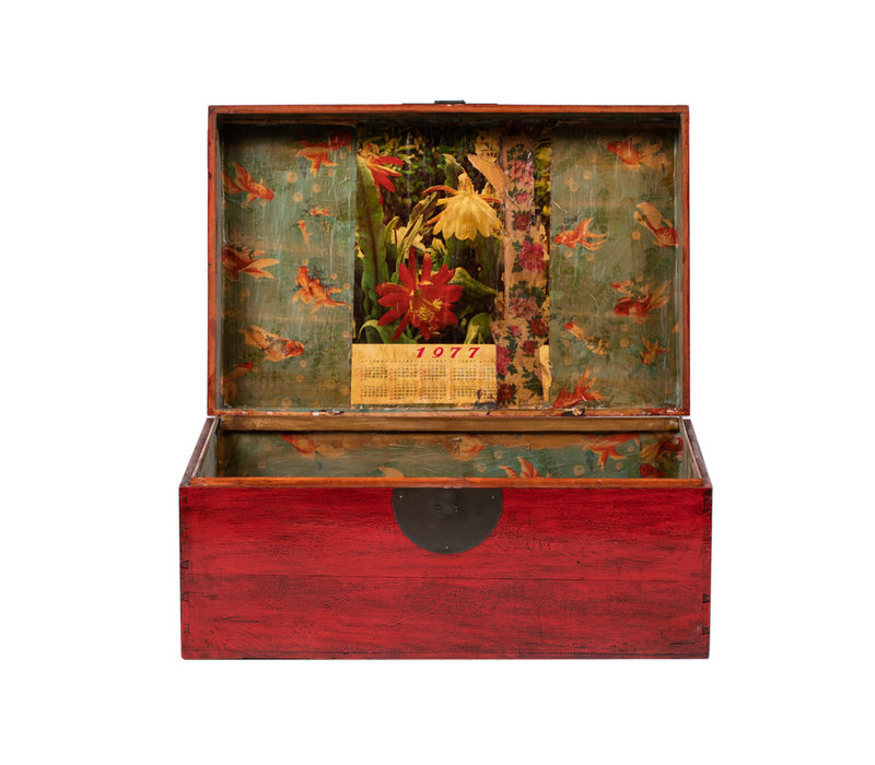 Antique Chinese Chest Glossy Red W89xD57xH40cm