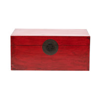 Antique Chinese Chest Glossy Red W88xD57xH40cm