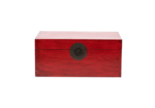 Fine Asianliving Antique Chinese Chest Glossy Red W88xD57xH40cm