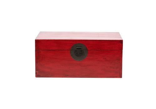 Fine Asianliving Baule Cassapanca Cinese Antico Rosso L88xP57xA40cm