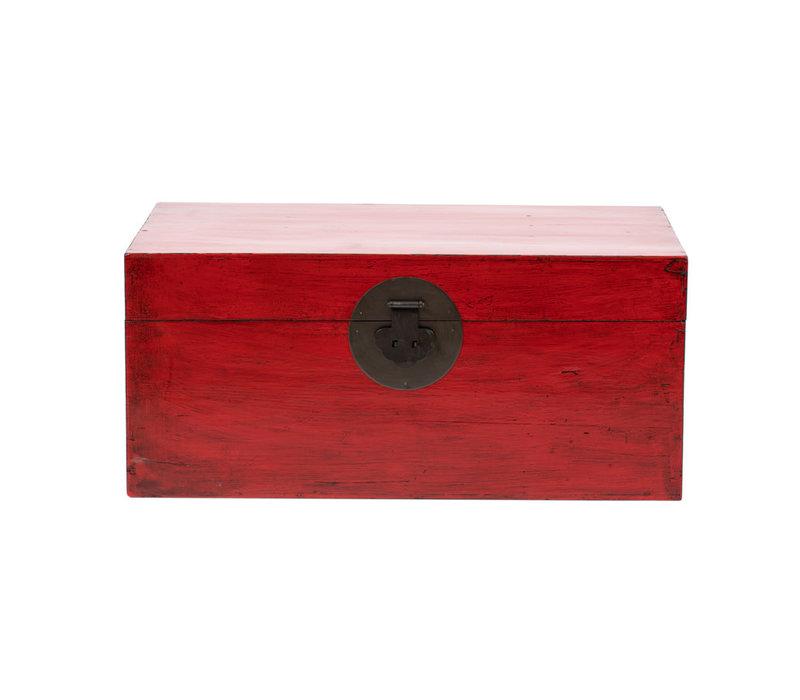 PREORDER 28/12/2020 Antique Chinese Chest Glossy Red W88xD57xH40cm