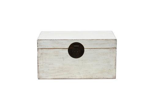 Fine Asianliving Caja Cofre de Almacenamiento Chino Antiguo Blanco Brillante A87xP56xA45cm