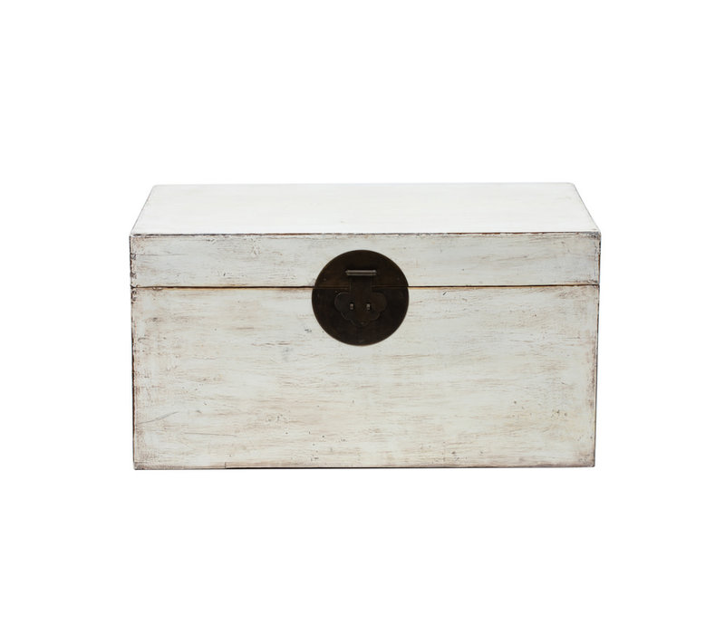 PREORDER 28/12/2020 Antique Chinese Chest Glossy White W87xD56xH45cm