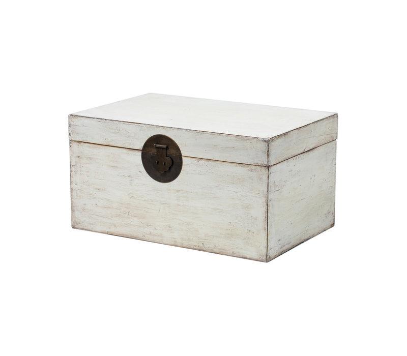 Antieke Chinese Kist Glanzend Wit B87xD56xH45cm