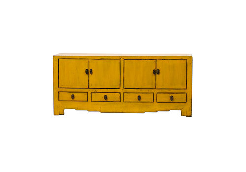 Fine Asianliving Antique Chinese TV Cabinet Glossy Yellow W144xD39xH64cm