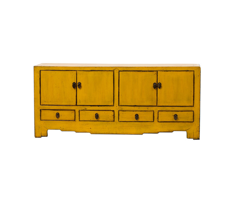 Antique Chinese TV Cabinet Glossy Yellow W144xD39xH64cm