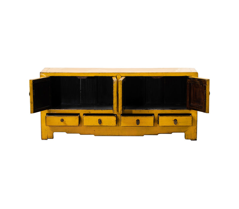 PREORDER 28/12/2020 Antique Chinese TV Cabinet Glossy Yellow W144xD39xH64cm