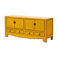 Antique Chinese TV Stand Glossy Yellow W144xD39xH64cm