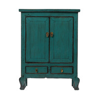Antique Chinese Cabinet Glossy Teal W86xD42xH114cm