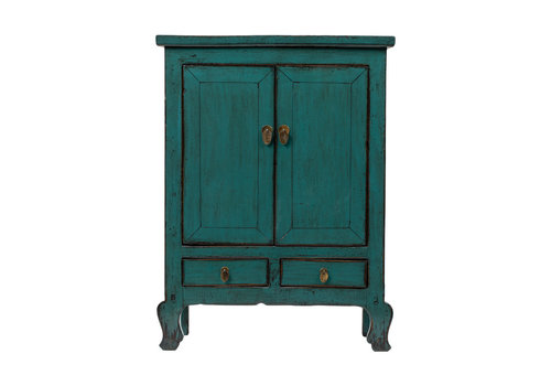 Fine Asianliving Antique Chinese Cabinet Glossy Teal W86xD42xH114cm