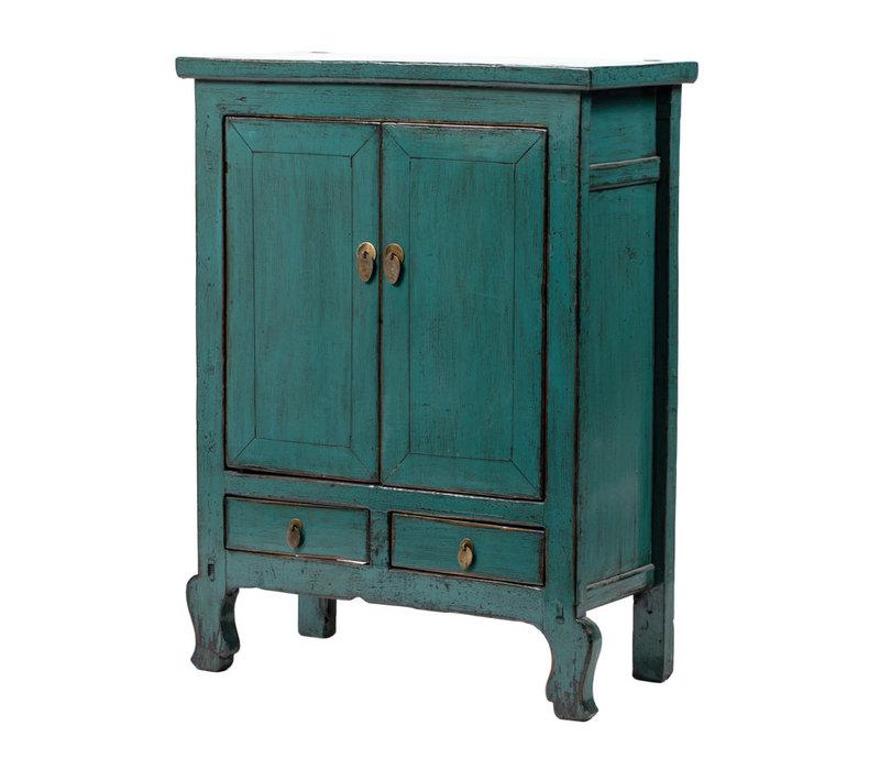Armoire Chinoise Antique Bleu Canard L86xP42xH114cm