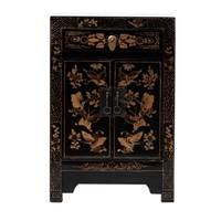 Chinees Nachtkastje Handbeschilderde Vlinders Zwart B40xD32xH60cm