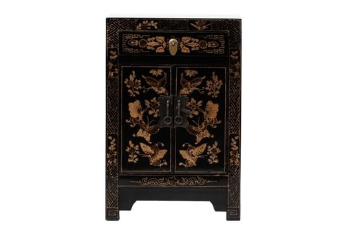 Fine Asianliving Chinese Bedside Table Handpainted Butterflies Black W40xD32xH60cm