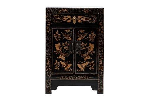 Fine Asianliving Table de Chevet Chinoise Peinte à la Main Papillons Noire L40xP32xH60cm