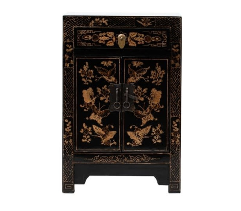 Chinese Bedside Table Handpainted Butterflies Black W40xD32xH60cm