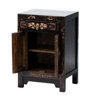 Table de Chevet Chinoise Peinte à la Main Papillons Noire L40xP32xH60cm