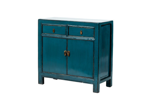 Fine Asianliving Antique Chinese Cabinet Glossy Teal W93xD41xH90cm
