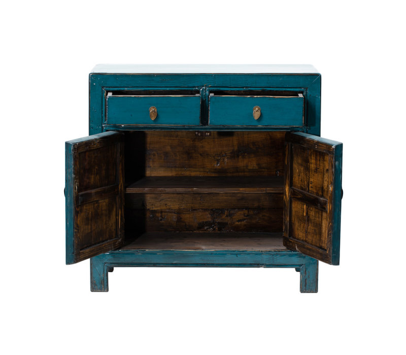 Antique Chinese Cabinet Glossy Teal W93xD41xH90cm
