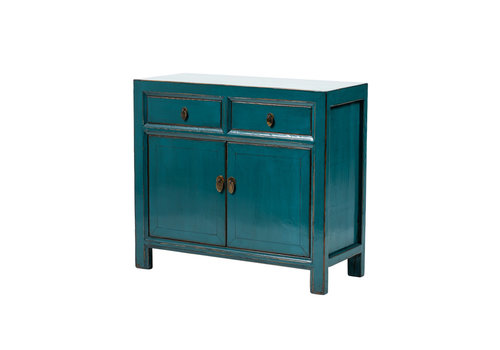 Fine Asianliving Antique Chinese Cabinet Glossy Teal W95xD40xH85cm