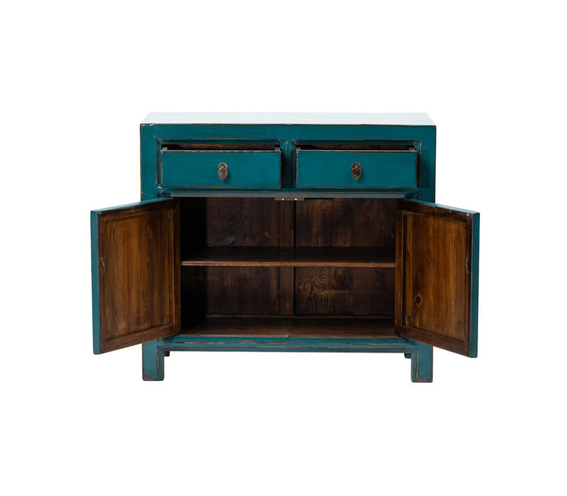 Antique Chinese Cabinet Glossy Teal W95xD40xH85cm