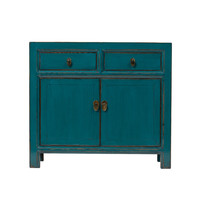 PREORDER 28/12/2020 Antique Chinese Cabinet Glossy Teal W95xD40xH85cm