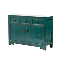 Antique Chinese Sideboard Glossy Teal W120xD40xH85cm