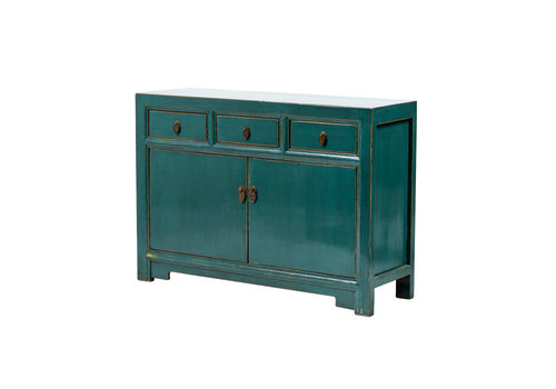 Fine Asianliving Antique Chinese Sideboard Glossy Teal W120xD40xH85cm