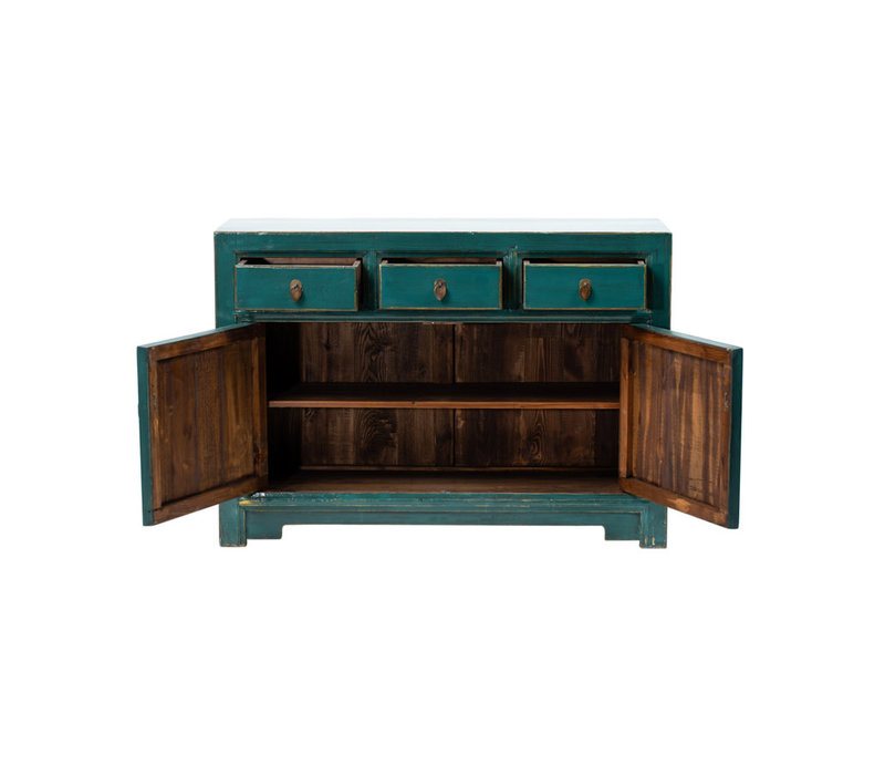 PREORDER 28/12/2020 Antique Chinese Sideboard Glossy Teal W120xD40xH85cm
