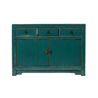 PREORDER 28/12/2020 Antique Chinese Sideboard Glossy Teal W120xD45xH85cm