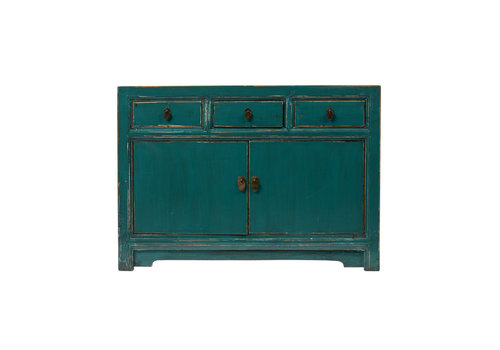 Fine Asianliving Antique Chinese Sideboard Glossy Teal W120xD45xH85cm