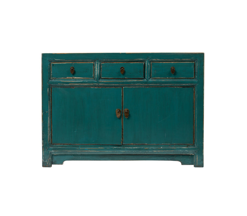 Antique Chinese Sideboard Glossy Teal W120xD45xH85cm